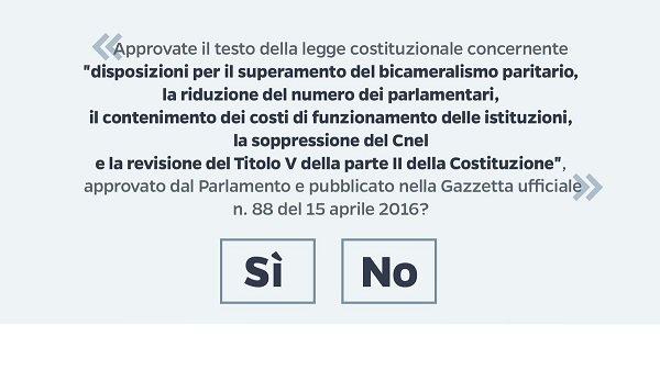 Referendum costituzionale cos'è, cosa prevede, come si vota, votare si o no