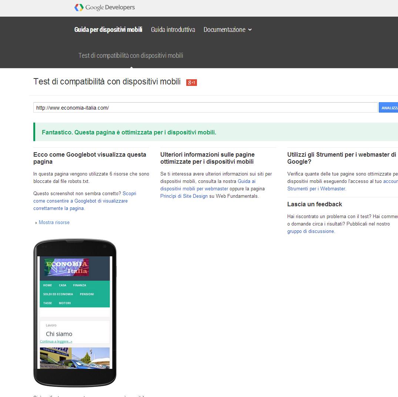 Come controllare se un sito compatibile con dispositivi for Siti mobili online