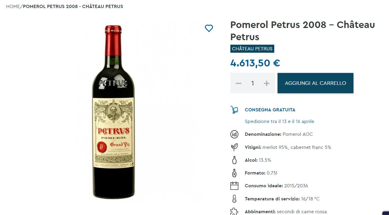 il vino più costoso in vendita