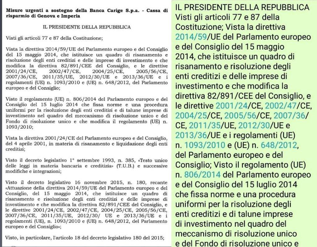 Il Decreto per salvare Banca Carige del Governo Conte è IDENTICO al Decreto salva banche del Governo Gentiloni del dicembre 2017