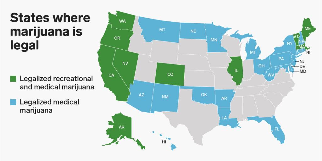 Dove la Cannabis è Legale negli Stati Uniti, Stato per Stato