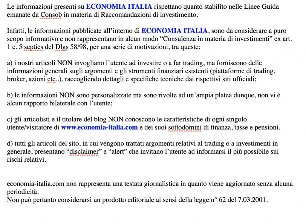 disclaimer di economia italia