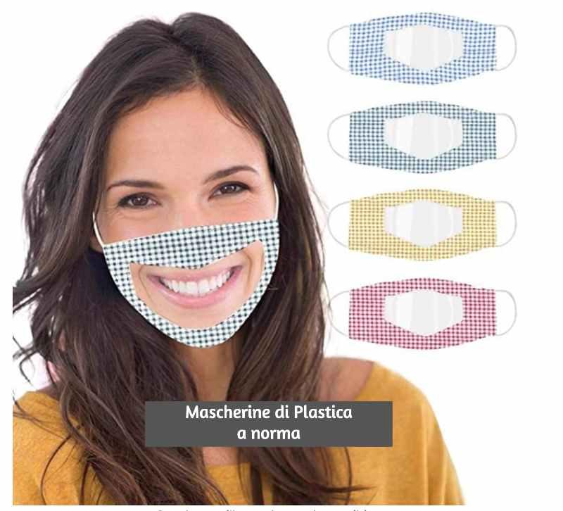 mascherine trasparenti di plastica a norma